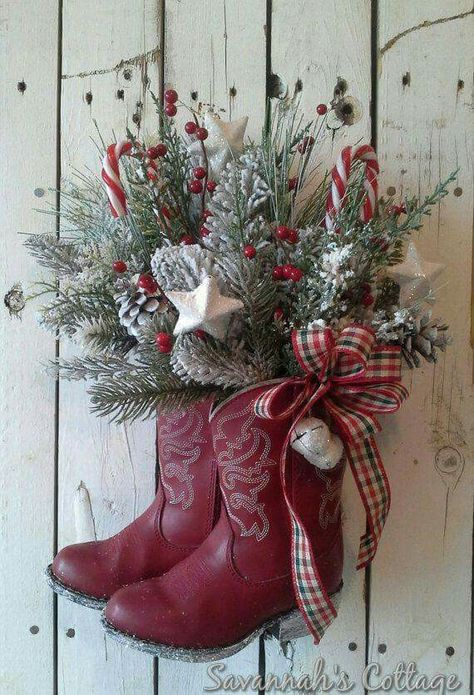 RESERVED SALE Christmas Arrangement, Cowboy boot, Holiday Floral, Door decor…