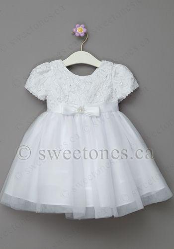 Baby Flower Girls White Christening Baptism Dress Satin Tulle Gown Bonnet Infant