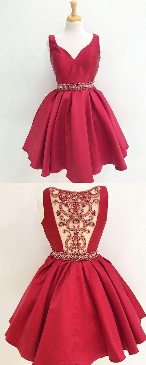d3478c786ea V Neck Red See Through Beading Custom Cheap Homecoming Dresses 2018 ...
