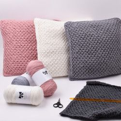 Tunisian Fishnet Cushion From Hobbii Basket Weave Crochet Pattern Crochet Pillow Pattern Crochet Cushion Cover