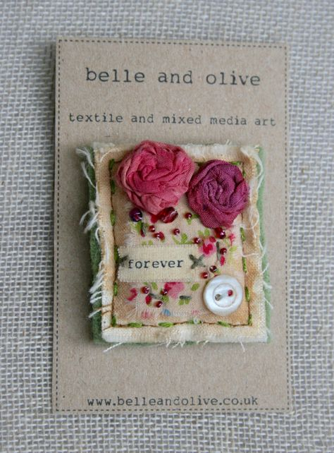 Textile Brooch, shabby chic, vintage style with roses
