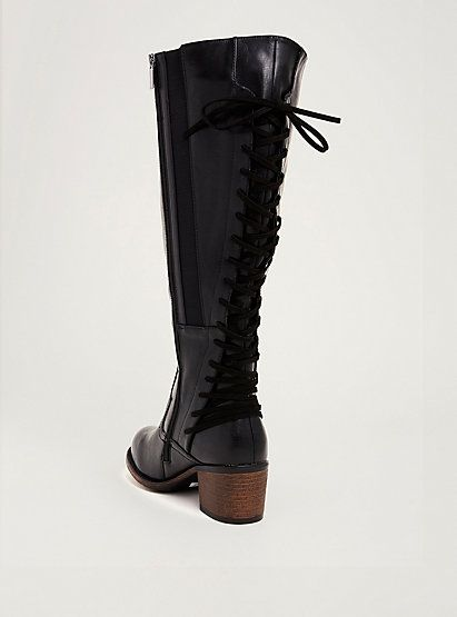 Distressed Lace Up Back Knee-High Boots