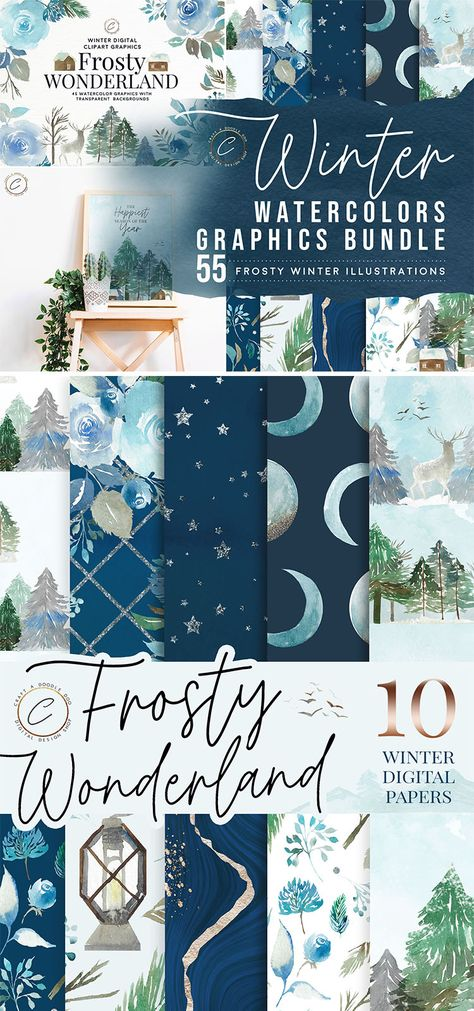 Free Winter Digital Paper Pack by Craft A Doodle Doo, Winter Wonderland scrapbooking paper set, blue watercolor patterns and backgrounds, watercolor texture pack, floral watercolor clipart, winter watercolor clipart set Free Digital Scrapbooking, Digital Scrapbook Paper, Digital Papers, Digital Paper Freebie, Washi Tape Planner, Printable Scrapbook Paper, Watercolor Texture, Floral Watercolor, Doodle Doo