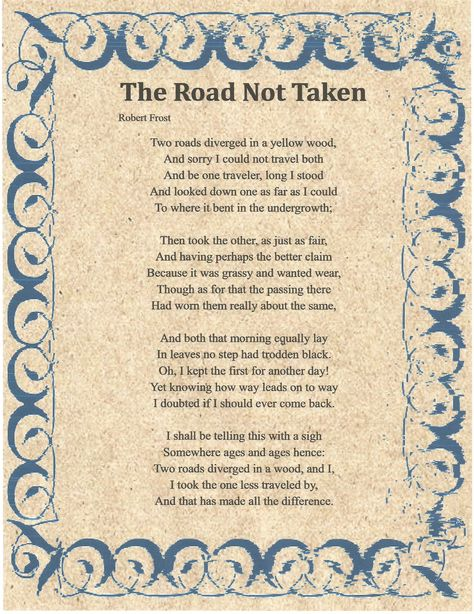 The Road Not Taken By Robert Frost Song Lyrics And Chords
