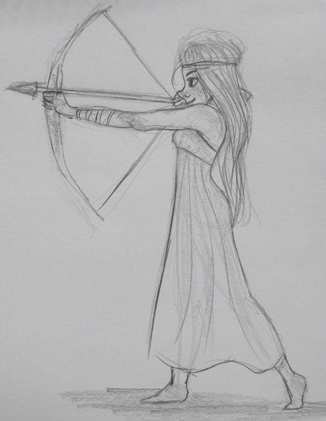 Archery  Girl sketch. By Yenthe Joline.