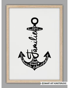 Poster for the family with typo and anchor / family art print with anchor and ...  #anchor #family #poster #print