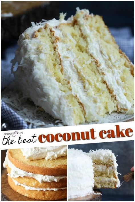 The Very Best Coconut Cake Recipe EVER! Fluffy, soft, with the perfect amount of coconut flavor, topped with creamy coconut buttercream frosting! # coconut Desserts The Best Coconut Cake Recipe EVER! Kokos Desserts, Coconut Desserts, Coconut Recipes, Köstliche Desserts, Delicious Desserts, Coconut Cakes, Lemon Cakes, Coconut Rice, Coconut Cream