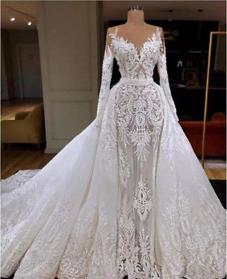 Detachable Train Lace Appliques Wedding Dress White Ivory Mermaid Bridal Gowns Long Sleeve Wedding Dress Lace Bridal Gowns Mermaid Lace Applique Wedding Dress
