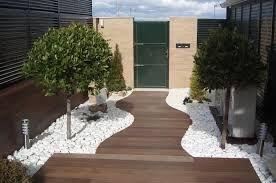 Resultado De Imagen De Pequenos Jardines Casas Adosadas Jardin Con Piedras Jardin Piedras Blancas Jardines