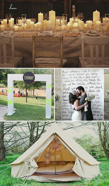 Wedding Decor:  Candle-filled tables: 100 Layer Cake  Ceremony Doorway: Green weddding shoes  Hand painted ceremony backdrop: SMP  Mr. and Mrs. Tepee: Ruffled