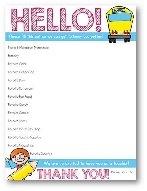 printable teacher questionnaire