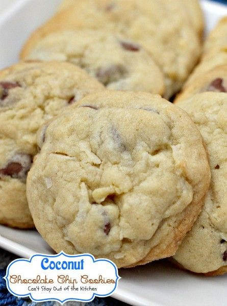 Coconut Chocolate Chip Cookies | Can't Stay Out of the Kitchen | we love these fabulous #cookies since they put a spin on regular #chocolatechipcookies by adding #coconut. #dessert #chocolate
