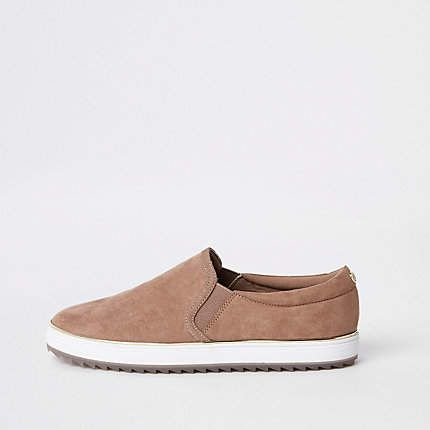 River Island Pink faux suede slip on