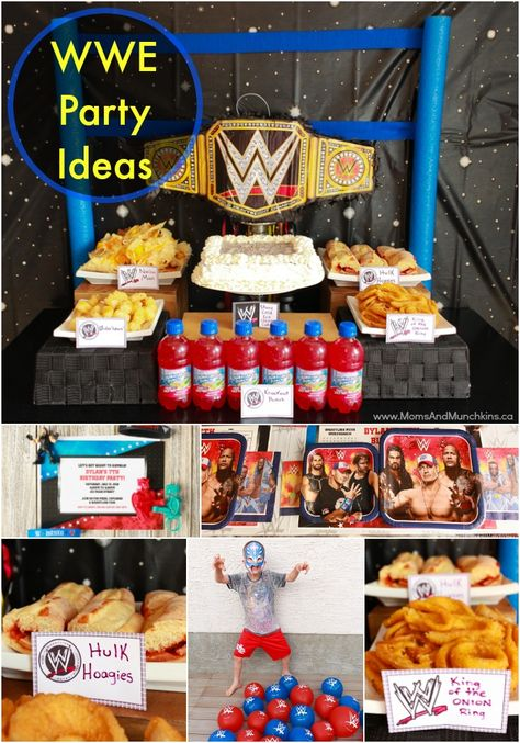 Wrestling Birthday Party Ideas - fun ideas for WWE games for kids, themed party foods, decorating ideas, free printables and more! #WWE #KidsParties #WrestlingParty