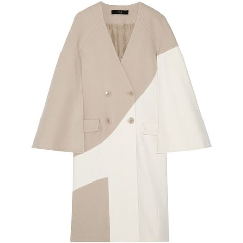 Tibi Siku two-tone wool-blend coat (€1.260) ❤ liked on Polyvore featuring outerwear, coats, double breasted cape, wool blend cape coat, white double breasted coat, cream coat and tibi