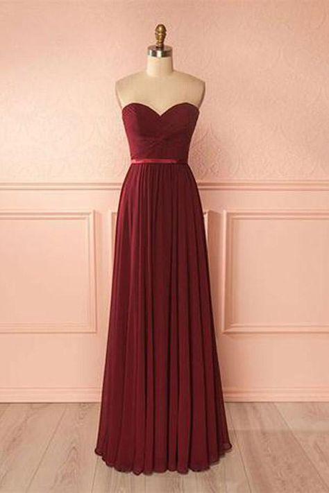 a1084fd77a9b Burgundy Bridesmaid Dresses, Long Prom Dresses, A-Line Bridesmaid Dresses, Chiffon  Bridesmaid Dresses #ChiffonBridesmaidDresses #ALineBridesmaidDresses ...