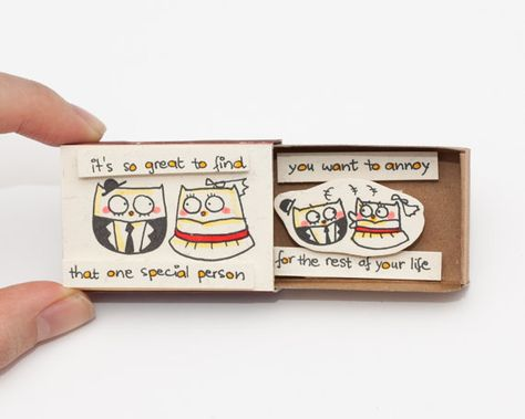Funny Anniversary Card/ Owl Love Card / Matchbox/ by 3XUdesign