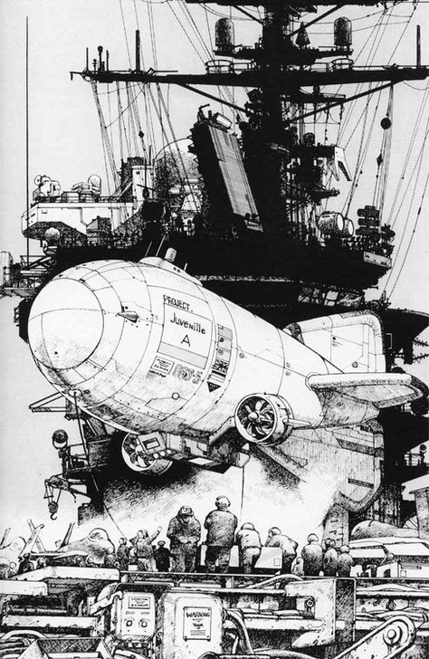 Katsuhiro Otomo Black and white illustration