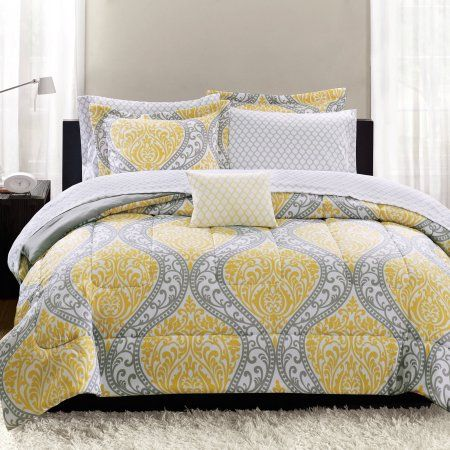 Mainstays Yellow Damask 8 Piece Bed In A Bag Bedding Set Queen Walmart Com In 2021 Yellow And Gray Bedding Damask Bedding Yellow Bedding Grey and yellow comforter sets