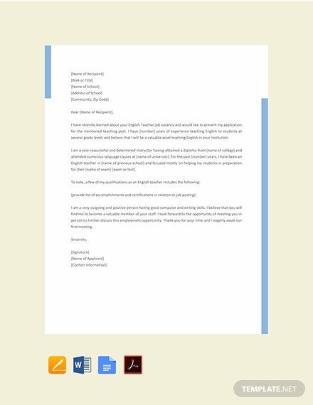 Free English Teacher Job Application Letter English Teacher Jobs