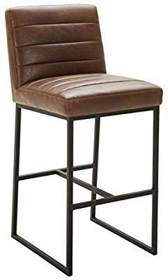 Amazon Com Rivet Decatur Modern Barstool 42 H Brown Top Grain