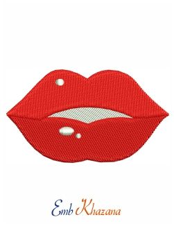 Red White Lips Design Love And Romance Embroidery Design White