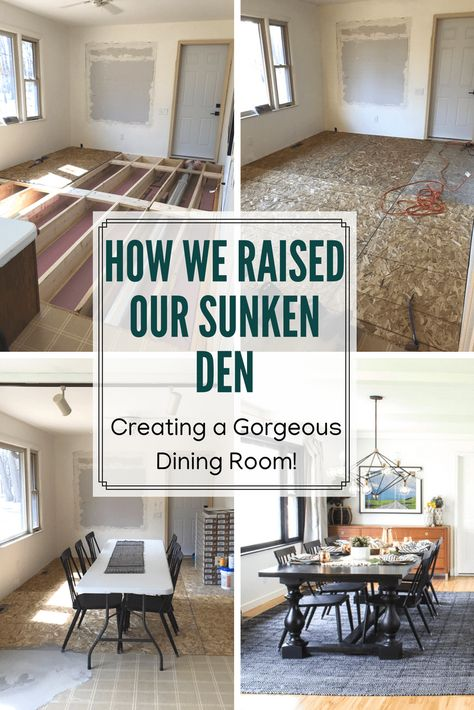 How we raised our sunken living room, Raising a Sunken Room, Sunken Den, Raising up a Sunken Room, DIY Sunken Room re-do, How to Raise up Flooring