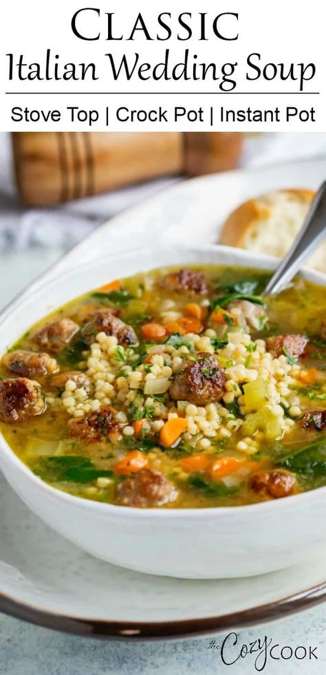 This Italian Wedding Soup can be made on the Stove Top, Crock Pot, or the Instant Pot! Make it with homemade meatballs, or use frozen meatballs for an quick and easy dinner idea! #ItalianWeddingSoup #SoupRecipe #CrockPot #InstantPot #Healthy