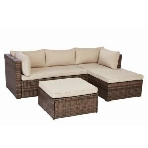 Valley Peak Low Profile 3 Piece All Weather Wicker Outdoor Sectional Set With Beige Cushions Kvs945n With Images Wicker Sectional Wicker Outdoor Sectional