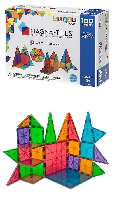 Supermag 145844 New Magna Tiles Clear Colors 100 Pc 3d Set Magnetic Building Toy Math Science 3 Bu Magnetic Building Toys Kids Learning Toys Building Toys