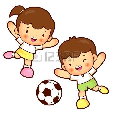 Resultado de imagen para niños jugando futbol animados