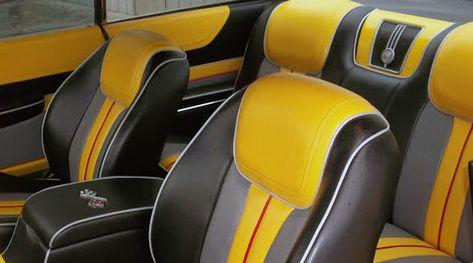 60 CHEVROLET IMPALA custom interior yellow black grey and red bucket seats piping