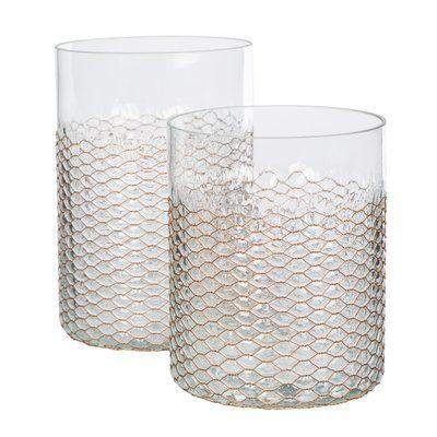Bradburnhome 2 Piece Glass Hurricane Set Glass Hurricane Candle Holder Hurricane Glass Wired Glass