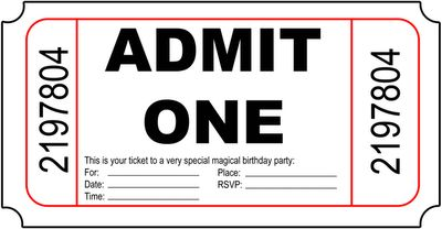 Admit One Invitation Template Geccetackletartsco - Admit one ticket template