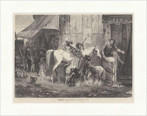 Künstlerneid H. Schaumann Zirkus Tiere Schausteller Pferd Affe Holzstich E 17296