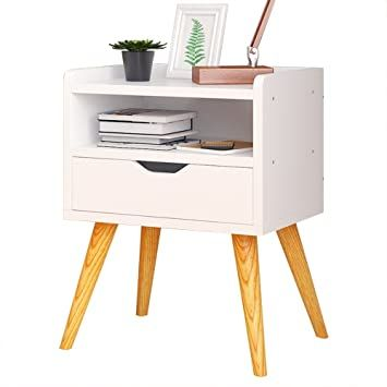 Runwei Solid Wood Bedside Table Three Story Single Drawer Simple