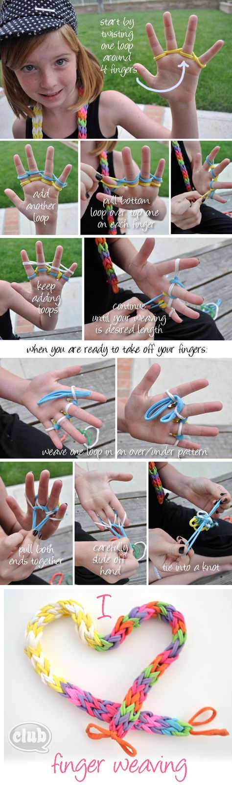 finger weaving tutorial. We used to make scrunchies like this.