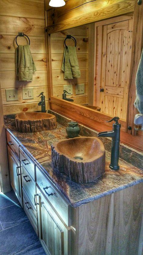 Custom Concrete wood log sink tree basin vessel vanity bathroom decor art rustic cabin wood bamboo t