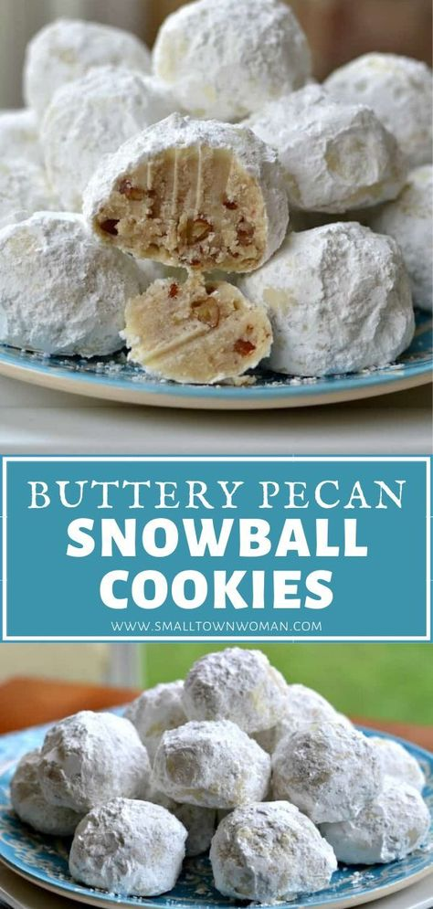 Buttery Pecan Snowball Cookies are an all-time favorite! Simple pantry staples come together in this quick and easy dessert recipe. Baked to perfection and rolled in powdered sugar, these delectable treats will melt in your mouth! Save this and try it!
