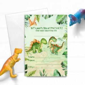 dinosaur birthday party invitations 8x