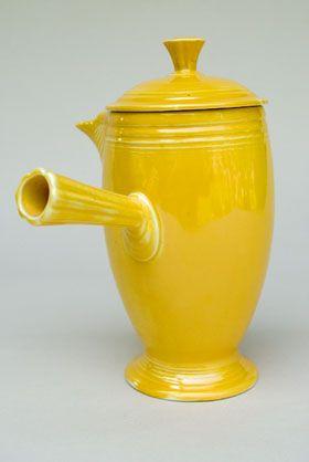 Vintage Fiestaware Original Yellow Demitasse Coffeepot A D Stick Handle Rare Pottery For Sale Fiestaware