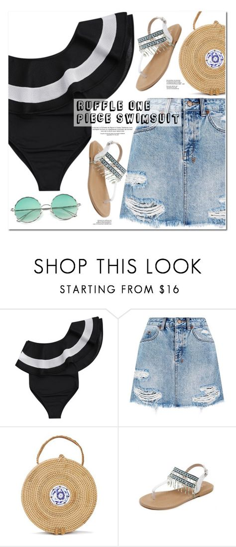 """Ruffle One Piece Swimsuit"" by oshint ❤ liked on Polyvore featuring Ksubi"