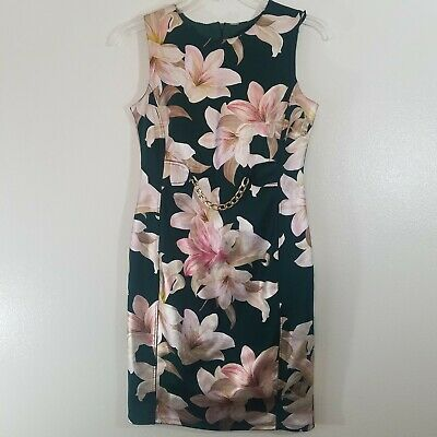 ENFOCUS STUDIO size 8 Womens Emerald Green Cocktail Dress Pink Shimmer Floral  #fashion #clothing #shoes #accessories #women #womensclothing (ebay link)