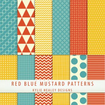 Digital Papers - Blue Red Mustard Patterns.  Great digital paper from Kylie Healey.  Free!