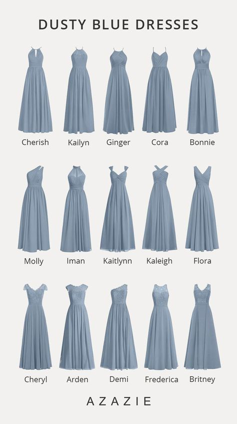 Shop for a large variety of dusty blue bridesmaid dresses at Azazie. With bridesmaid dresses from Azazie, you are sure to find a dusty blue bridesmaid dress for the perfect look for your wedding. Dusty Blue Bridesmaid Dresses, Wedding Bridesmaids, Prom Dresses, Wedding Dresses, Azazie Bridesmaid Dresses, Bridesmaid Dress Styles, Wedding Dress Shapes, Dusty Blue Dress, Azazie Dresses