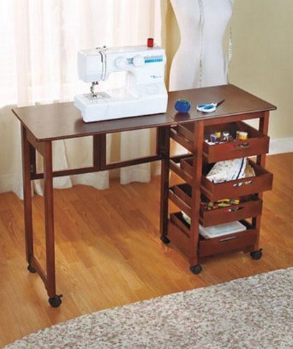 and Go Adjustable Foldable Sewing Machine Table Laminate Metal Wood Portable Stow-able