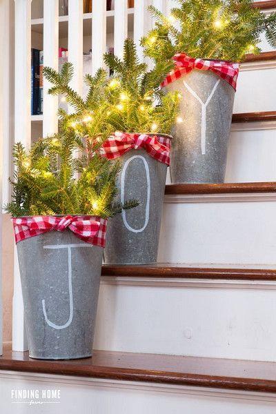 DIY Bucket Decor -  Festive Ways to Use Christmas Lights Inside Your House - Photos