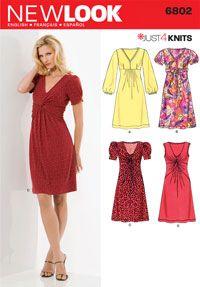 Lovely OOP McCALLS 6980 Misses Mock-Wrap Empire Dress PATTERN 8-10-12-14-16 UC