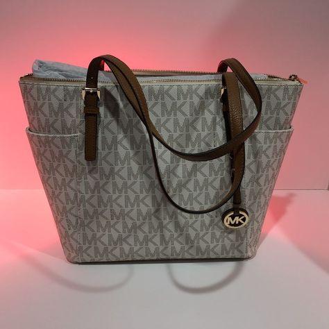 7e8504e52034 MICHAEL KORS Jet Set Vanilla Gold MK Signature EW Tote Shoulder Bag Purse  #fashion #clothing #shoes #accessories #womensbagshandbags ...