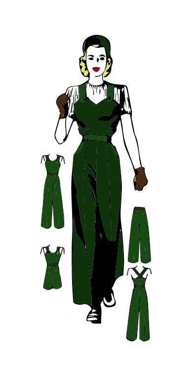 """Vintage 1940s Sewing Pattern Land Girl Overalls Slacks Dungarees Bust 38/"""""""